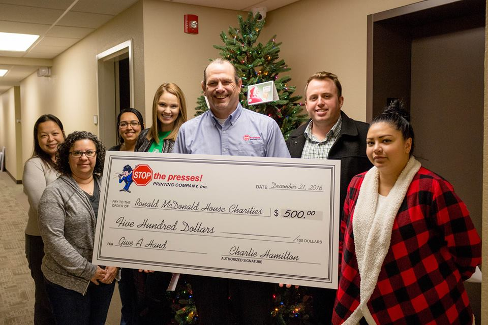 Charlie from STOP the Presses Printing donated $500 in addition to $40,000 raised to benefit Ronald McDonald House Charities and Ronald McDonald House Charities Northern California.
